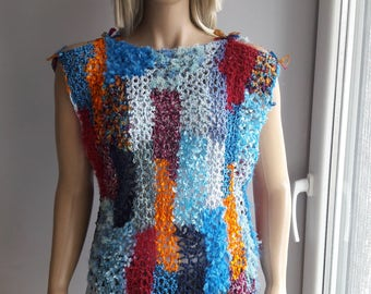 NATURE PAINTER - Multicolor Sweater / Hand Tied Yarn / Sleeveless Sweater / Crochet Sweater / Side Slits / Shoulder Slits / Autumn Spring