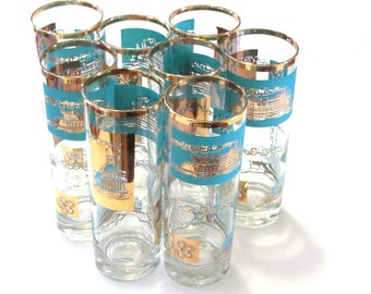 Libbey 22K Gold Turquoise Glassware Steamboat Riverboat Highball Collins Southern Comfort Promotional Barware  Set of Eight