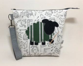 Medium Zipper Top Knitting Crochet Project Bag - Slytherin Sheep