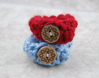 Baby ID Bracelets Red and Blue - Twin Baby Anklets - adjustable