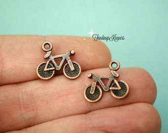 10 Bicycle Charms, Double Sided Antique Copper Tone 15 x 13 mm                                                                 cg226
