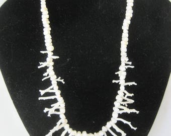 White Coral  Necklace, White Branches, Coral Bead Choker
