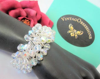 Faceted Crystal Bracelet -  Cha Cha Bead Style -  Expansion Bracelet