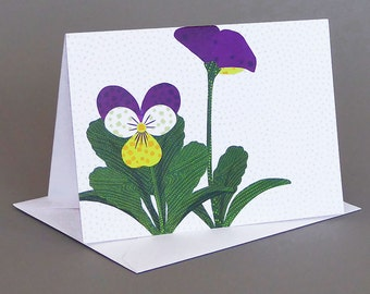 Johnny-Jump-Up: A nature inspired blank notecard, spring, purple