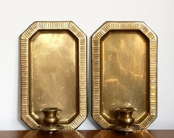 Vintage Brass Candle Sconces  Wall Sconces Candle Holders Octagon Metallic Chic