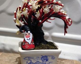 Asian Garden Gnome sitting under Bonsai tree- Wonderful Christmas gift