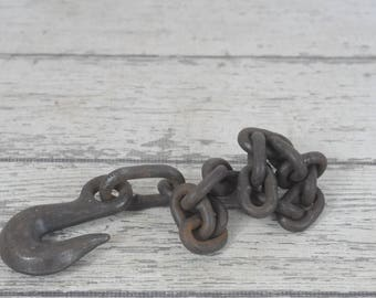 Vintage Industrial Hook And Chain Vintage Block And Tackle Metal Decor