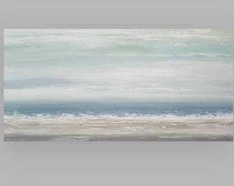 Art, Large Painting, Original Abstract, Acrylic Paintings on Canvas by Ora Birenbaum Titled: Soft Clouds 11 24x48x1.5""