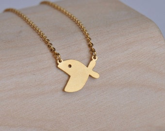 18K Gold Plated Big Mouth Fish Necklace Jewelry Stainless Steel Necklace Valentines gift