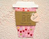 Mini Hearts Happy Valentine's Day TEACHER  LatteGift Card Holder