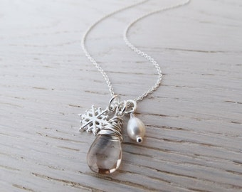 Silver Snowflake Necklace With Imperial Topaz & Pearl - Sterling Silver