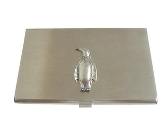 Silver Toned Textured Penguin Bird Business Card Holder