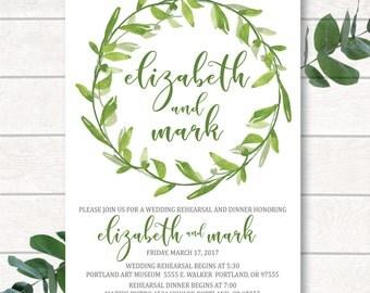Digital Rehearsal Invitation, Rehearsal Dinner, Watercolor Rehearsal Dinner Invitation, Wreath Invitation,Watercolor Leaves,Leaf Invitation