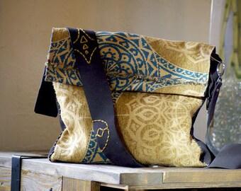 The Kamera Simplefly Handbag,  Satchel Type Handbag, Boho Leather and Fabric Handbag, Black and Cream Bag, Womens Boho Bag, Symbol Stitching