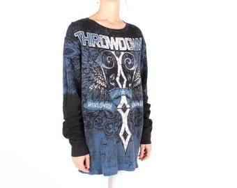 "Sickest 90s Unisex Black + Blue ""Throwdown"" Tattoo Wrestling Athletic Sweatshirt / Long Sleeve Tee T Shirt Dress - Unisex"