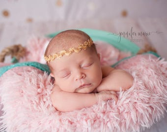 Gold Newborn Baby Girl Boho Crown Headband Tieback Halo, Photo Prop, Photography Prop