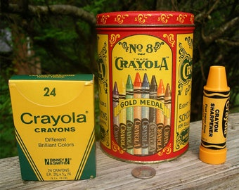 Vintage Crayola Crayon Tin w/Crayons and Sharpener - 1987 Binney and Smith No 8 Colored Wax Drawing Writing Sticks - Replica of 1903 Design