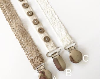 Pacifier Clip/ Natural and Ivory Lace / Newborn Gift/ Baby Shower Gift/ Nature baby/ Hippie Baby/ Brother and Sister baby set/ nuk clip