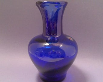 Vintage Blenko Glass Vase, Cobalt Blue Hand Blown, Original Sticker, Midcentury Timeless Design
