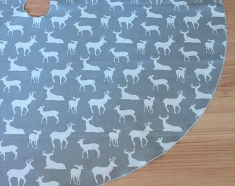 "Medium 38"" Gray Deer Print Christmas Tree Skirt - FREE Shipping, Made in USA, Holiday Decor, Hunting, Masculine"