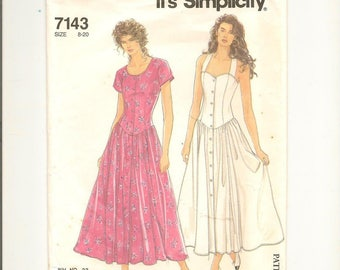 Simplicity 7143 Dress Shaped Dropped Waist Button Front Full Skirt Princess Seam Bodice Above Ankle Length Size 8 to 20