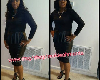 Black leather Peplum Top  and black skirt with leather on the side