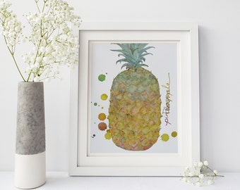 Printable: Pineapple Watercolor, Kitchen Art, Watercolor Print, Digital Download Print, Kitchen Print