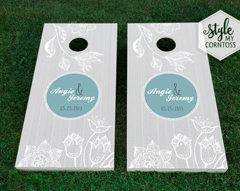 Custom Cornhole Boards | Chevron & Florals Monogram | Modern | Custom Wedding Game | Baggo | Lawn Game | For Bride and Groom