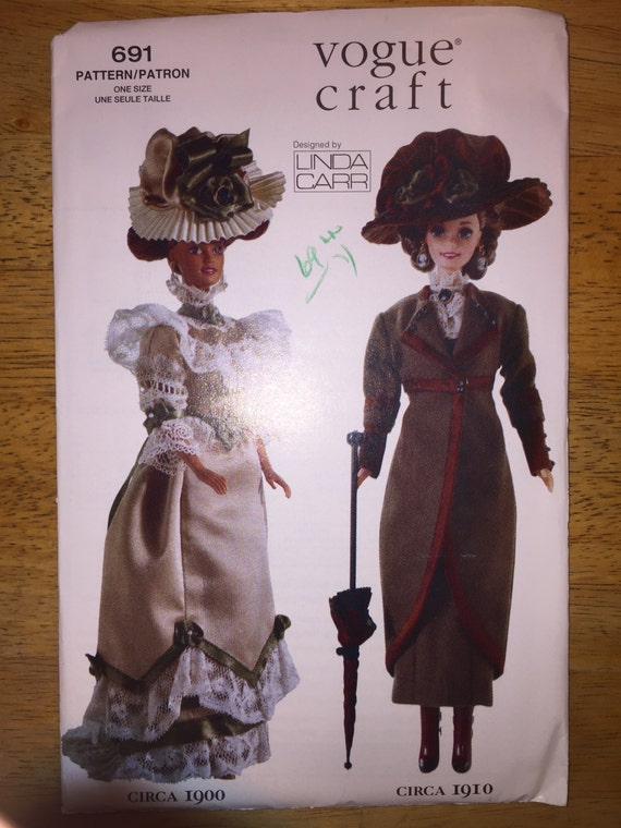 "Vogue Crafts Sewing Pattern 691 11 1/2"" Fashion Doll Clothes 1900-1910"