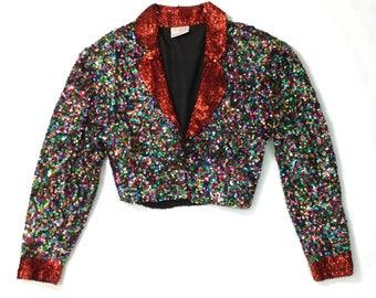 Rad 80s cropped sequin blazer jacket