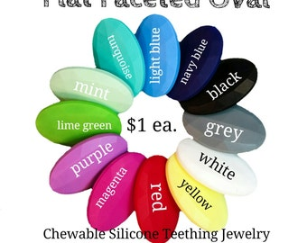 Flat Faceted Oval shaped Food Grade Silicone Bead - safe for teething. Non-toxic: no BPA, cadmium, lead or phthalates.