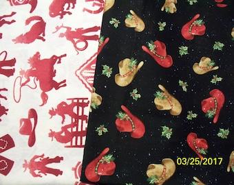 Western Cowboy Prints 100% Cotton Fabric, Fat Quarters