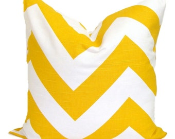 Yellow Pillows, Yellow Pillows, Yellow Chevron Pillow Cover, Decorative Pillow, Yellow ZigZag Throw Pillow, All Sizes, Yellow Euro, Cushion,