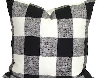 Black Pillow, BLACK Throw Pillow, Pillow Cover, Plaid Pillow, Buffalo Check Pillow, Buffalo Plaid. Euro Sham Farmhouse Decor. Cushion. cm