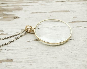 closer - magnifying glass monocle necklace