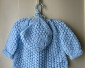 ON SALE Vintage handknit matinee set / 3-piece set / sweater, bonnet, booties / baby boy or girl  6 to 12 months