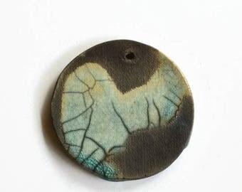 Large pendant, African beads, Ceramic Jewellery Components, Turquoise Pendant, Pendant, Clay beads,  African Ceramics, art pendant, handmade