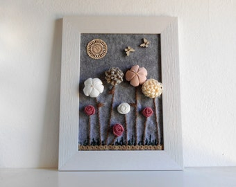 Baby room 3D decor fabric flower framed art nordic decoration