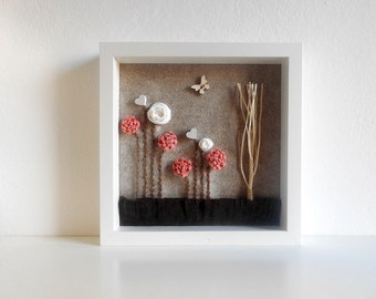 Fabric flower wall art Nursery framed decoration 3D baby design home decor
