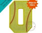 Neon yellow glitter softball iron on applique number 9