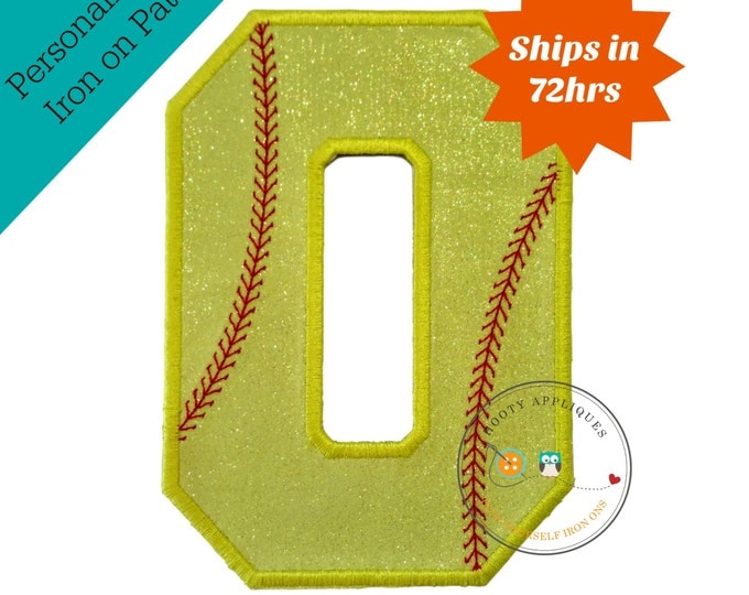Neon yellow glitter softball iron on applique number 0, bright glitter embroidered iron on patch, number zero yellow softball number
