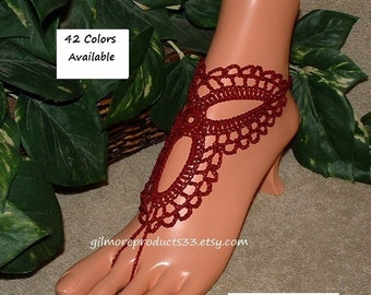 Burgundy Crochet Barefoot Sandals Bridal Party Shoes SIZED Beach Wedding Toe Anklets Sandal Crochet Ankle Jewelry Barefoot Body Jewelry