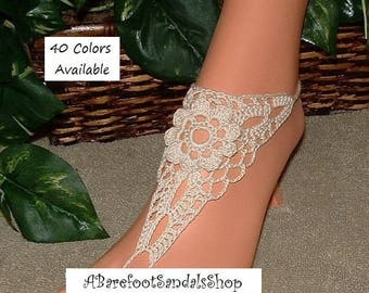 Barefoot Sandals Ivory LACE Shoes Barefoot Sandal Anklet Foot Jewelry SIZED Crocheted Barefoot Ivory Lace SHOES Custom Sandals Shoes Gift