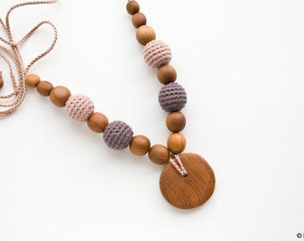 ORGANIC cotton Nursing Necklace, Mommy Necklace, Breastfeeding, Dark Chocolate - Apple Wood