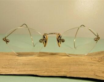 Frameless Eyeglasses - Vintage 12 K GF Gold Filled Wire