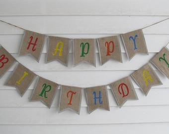 HAPPY BIRTHDAY Banner ~ Colorful rustic burlap banner
