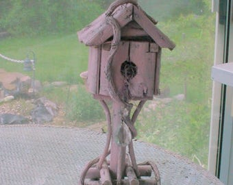 Rustic Birdhouse Pink Crystal Prism French Country Prairie Farmhouse Cottage Chic OOAK