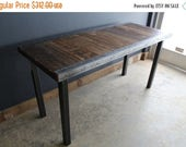 Limited Time Sale 10%OFF Custom 30x 48 Industrial Dining Table with raw steel trim and straight steel legs