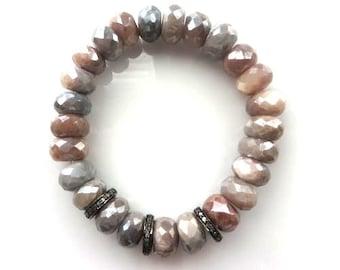 Pave Diamond Sterling Silver And Multi Moonstone Silver Coated Faceted Rondelles Stretch Bracelet/Boho Bracelet/Yoga Bracelet
