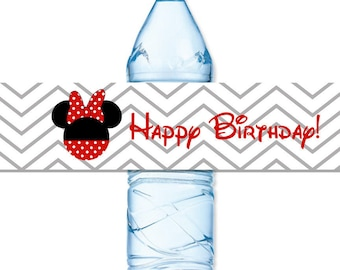 INSTANT DOWNLOAD - Minnie Mouse Red Grey Chevron Stripe Water Bottle Label Birthday Baby Bridal Wedding Shower - You Print